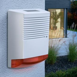 Alarmanlagen-Attrappe mit blinkender LED Effektive Abschreckung mit minimalem Aufwand. Tag und Nacht.