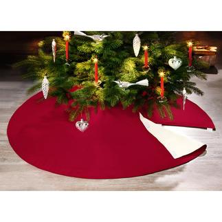 Schwer entflammbare Christbaumdecke Ganz einfach: sicherer Schutz vor Kerzenflammen, Wachs und Baumharz. Gleichzeitig eine dekorative Unterlage.