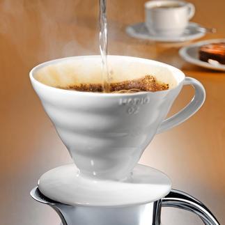Porzellan-Kaffeefilter Hario Mit intelligenter Rillenstruktur, 60° Neigungswinkel und großer Durchflussöffnung.