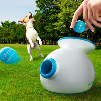 Ballwurfmaschine iFetch Für drinnen und draußen: trainiert und bespielt Ihren Hund nimmermüde. Und gibt Ihnen erholsam frei.