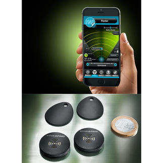 Stick-N-Find Funk-Sticker, 2er-Set Auf Fingertipp lokalisiert Ihr Smartphone Schlüsselbund, Handtasche, Portmonee, ...