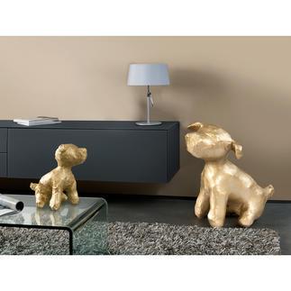 "Hundeskulptur Junior Goldschimmernder Blickfang: die Hundeskulptur ""Junior"" der niederländischen Künstlerin Margot Brekelmans."