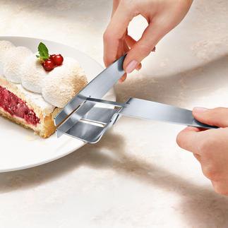 Tortenheber mit Servierhilfe Torte servieren – so sicher und sauber wie nie. Der erste Tortenheber mit Kippsicherung und Abstreifer.