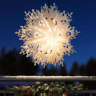 Leuchtende Schneeflocke XXL-Format. Filigranes Scherenschnitt-Muster. Topaktuell für drinnen und draußen.