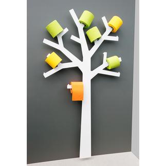 WC-Rollen-Baum Wandskulptur? Deko-Objekt? Der WC-Papierhalter mit erstaunlich vielen Talenten.