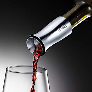 Wein Dekantierer Vagnbys Belüftet Ihren Wein optimal – Glas für Glas. Mit tropffreiem 360°-Ausgießer, Filtersieb und luftdichtem Stopfen.