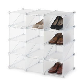 Schuh-Organizer Cubes Übersichtlich. Platzsparend. Variabel. Das Schuhregal zum Zusammenstecken. Von Ballerina bis High Heel.