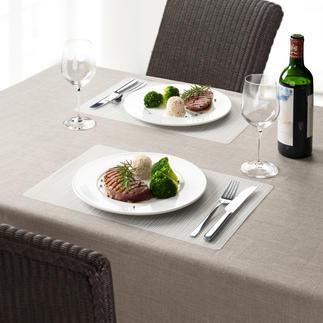Silikon-Tischset, 4er-Set Schick. Fleckabweisend. Und hitzefest bis 200 °C (!). Formstabil und sogar spülmaschinenfest.