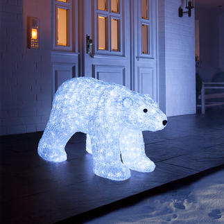 LED-beleuchteter Polarbär Glitzernd wie Eis. Und auf Wunsch sensationell illuminiert. Eine majestätische Erscheinung drinnen und draußen.