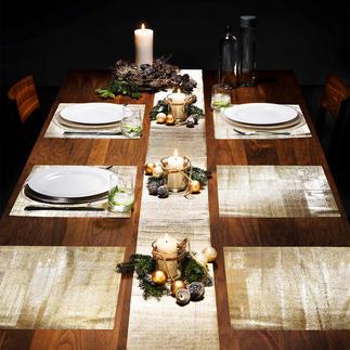 Glitzer-Tischfolien Glamourös. Dabei ganz unkompliziert. Und erfreulich günstig. Glitzernde Folie dekoriert Ihre Festtagstafel.