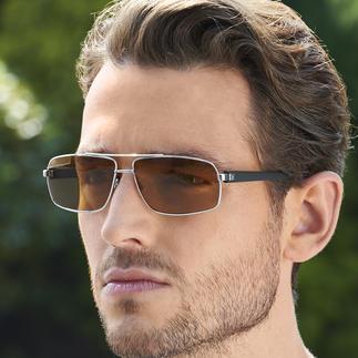 Drivewear®-Sonnenbrille Drivewear®: optimale Sicht beim Autofahren durch die Synergie zweier Technologien: Phototrophie und Polarisation.