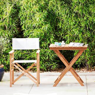 Teak-Regiesessel oder Klappbarer Teaktisch Viel komfortabler (und schöner): der Regiesessel aus edlem Teak. Für drinnen und draußen.