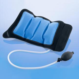Kälte-Kompresse inklusive Zweit-Kühlpad Bei diesen Aufblas-Bandagen wirken Kompression und Kälte zugleich.