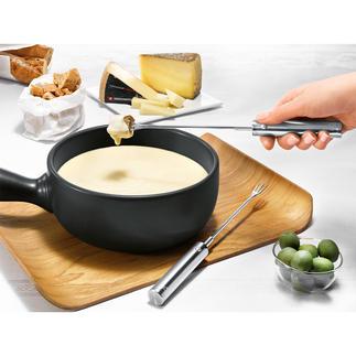 Elektrische Fonduegabel KäseRolli®, 4er-Set Käse- und Schoko-Fondue  - aber ohne Kleckern. Drehen  sich auf Knopfdruck – und schaffen das Nachtropfen ab.