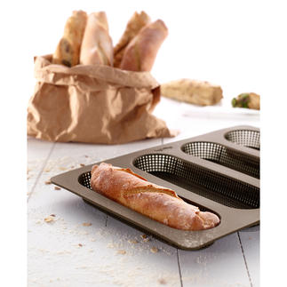 Silikon-Brötchen- oder Baguette-Backform Selbst gebackene Brötchen und Baguettes – endlich knusprig wie beim Bäcker.