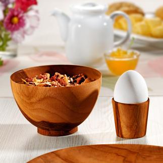Teakholz-Teller, Müslischalen oder Eierbecher Ein Blickfang auf Ihrer Tafel, Ihrem Buffet.