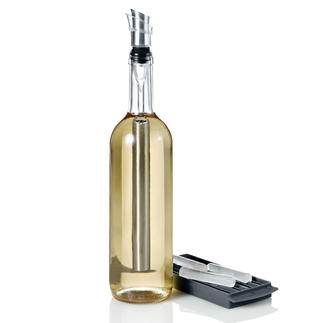 4-in-1-Icepour Kühlstab Edelstahl-Kühlstab, Ausgießer, Belüfter und Flaschenverschluss in einem. Hält Ihre Weine optimal kühl.