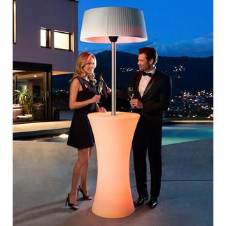 Wärmepilz Lounge So elegant kann ein Halogen-Infrarot-Wärmepilz sein. Zugleich Heizung und Party-Tisch mit Effekt-/Farbwechsel-Licht.