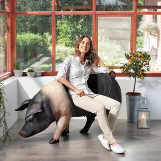 Sitz-Schwein Drinnen und draußen spektakulär – als Dekoration, Ablage oder Sitz mit Witz.