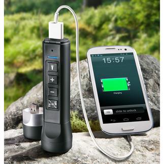 3-in-1 Elektro-Multitool Lautsprecher, Taschenlampe und Powerbank in einem handlichen Tool. Kompakt. Und leicht.