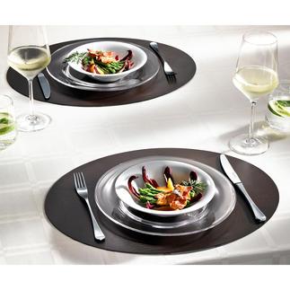 tableMat, 2er-Set, oval oder eckig, Braun/Schwarz Elegant wie Leder aus einem Stück. Aber viel strapazierfähiger und pflegeleichter. Hochwertiger Lederfaserstoff.