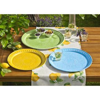 Serviertablett Keramik-Optik, 3er-Set Servieren, dekorieren, arrangieren – mit dem Charme des Südens.
