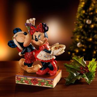 Disney Traditional Weihnachtsfiguren Weihnacht mit Mickey und Minnie – ein handbemaltes Folk-Art-Objekt des prämierten Künstlers Jim Shore.