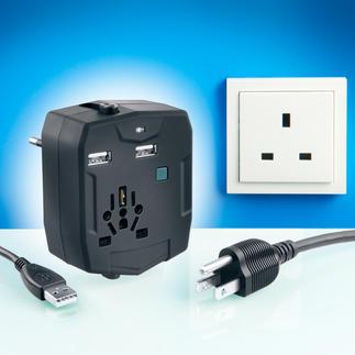 World Travel Adapter inkl. Powerbank Einer für alles: Im Reise-Adapter sind alle international üblichen Stecker und eine USB-Ladestation untergebracht.
