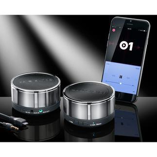"""Sound2Go Bluetooth-Stereo-Speaker, 2 Stück Stylish. Kabellos. Und jetzt als soundstarkes Stereo-Paar. Die preisgekrönten* Bluetooth-Mini-Lautsprecher """"to go""""."""