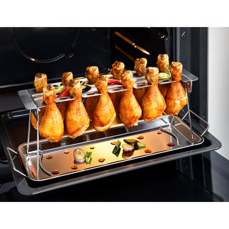 Chicken Leg Roaster, 2-teilig Perfekt gegrillte Hähnchenschenkel: ohne lästiges Wenden. Ohne Anhaften. Ideal auch für Chicken Wings. Und für den Backofen.