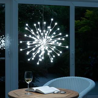 Kugellichter-Leuchte Silbrige Äste, individuell formbar - für drinnen und draußen.