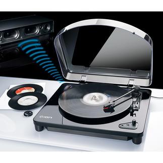 AirLP Bluetooth-/USB-Plattenspieler Endlich: kabelloser Musikgenuss von alten und neuen Vinylschätzen. Überall.