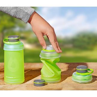 Falt-Trinkflasche Austrinken. Zusammenfalten. Wegpacken. Die komprimierbare Trinkflasche ist ideal beim Wandern, Campen, Reisen, ...