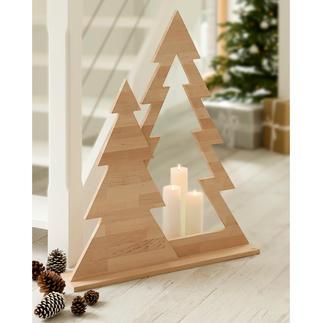 Tannenbaum-Duett Moderner Weihnachtsschmuck ohne jeden Kitschverdacht. Klare Form. Puristisches Design. Naturbelassenes Erlenholz.