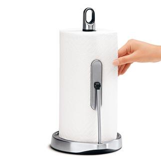 Einhand-Küchenrollenhalter Mit einem Griff die gewünschte Menge Küchenpapier. Der Edelstahl-Abroller funktioniert mit nur einer Hand.
