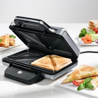 WMF LONO Sandwich-Toaster Viel sicherer: Dieser Sandwich-Toaster aus Edelstahl (Cromargan®) bleibt außen wirklich kühl.