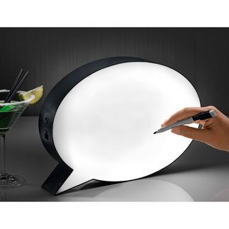 Sprechblasen-Leuchte Setzen Sie Ihre Worte ins rechte Licht. Originelle LED-Sprechblasenleuchte, abwischbar zu beschriften oder zu bemalen.
