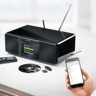 Roberts Komplett-Musiksystem stream 65i Spielt FM-, Digital- und Internetradio, CD und MP3-Musik. Mit Bluetooth-Empfang, Aufnahme-, Konvertier- und Speicherfunktion.