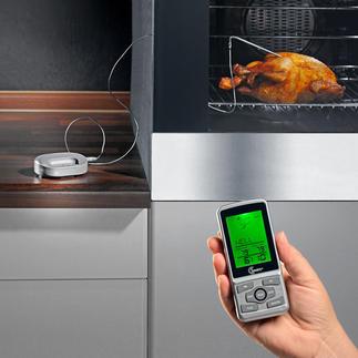 Funk-Küchen-/Grillthermometer Mehr Programme. Mehr Gargrade. Patentierte Back-Kontrolle. Höhere Funkreichweite.  360 °C-hitzebeständiges Kabel.