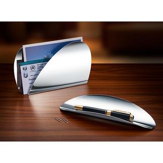 Alessi Schreibtischset Ellipse Klare Linien, kühle Eleganz: Alessis Edelstahl-Schreibtischset von Abi Alice.