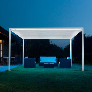 Freistehender Pavillon Bis zu 16 m² (!) Schatten – auf Tastendruck einfach und schnell. Variabel, wasserabweisend, witterungsbeständig. Und puristisch elegant.