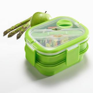 Faltbare Lunch-Box Die bessere Lunch-Box: platzsparend faltbar. Dennoch groß genug für eine komplette Mahlzeit.