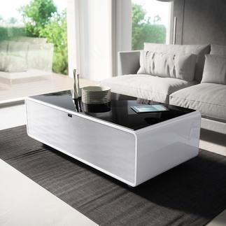 Smart-Minibar Kühle Getränke und satter Sound – direkt aus Ihrem Couchtisch. Entspannen und Genießen, ohne aufzustehen.