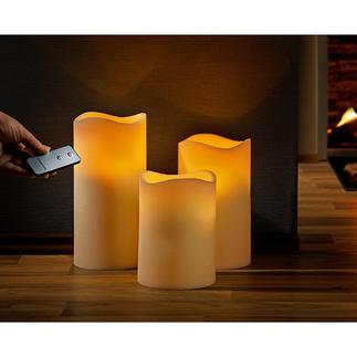 LED-Echtwachskerzen, 3er-Set mit Fernbedienung Schwer zu finden: Natürlich wirkende LED-Kerzen aus Echtwachs und im XXL-Format.