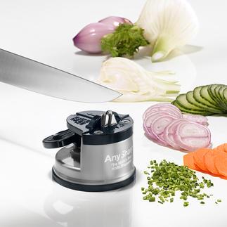 Sicherheits-Messerschärfer Messerschärfen sicher wie nie. Der Einhand-Schärfer mit extra starkem Saugfuß.