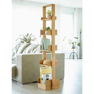 wireworks Design-Regal Bookie Auf kleinster Stellfläche (ca. 0,1 qm) über 1,50 laufende Meter Bücher präsentiert.