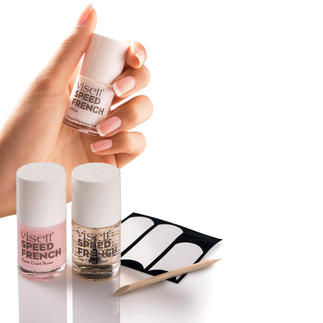 visett® Speed French-Manicure-Set Perfekte French Manicure in nur 10 Minuten. 6-teiliges Komplett-Set mit extraschnell trocknendem Base-, White- und Top-Coat.