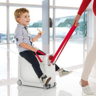 BedBox® Verwandelt den Flugzeugsitz Ihres Kindes in ein komfortables Bett. Zugleich praktischer Handgepäck-Trolley und vergnüglicher Aufsitzkoffer.