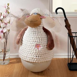 Schaukelndes Schaf, B-Ware Steckt lächelnd jeden Stups weg. Und richtet sich immer wieder auf.