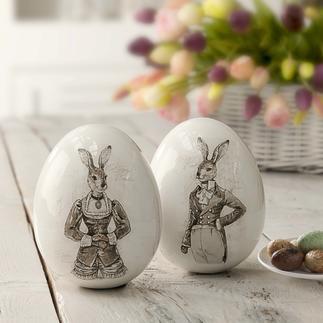 Ostereier Nostalgie-Hasenpaar Prächtige Porzellan-Eier mit Hasenmotiven – und anrührend nostalgischem Charme.